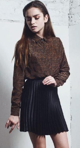 DROLE camisa kina gasa animal-falda coco plisada negra