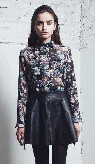 DROLE camisa kina gasa floreada-falda brigitte cuero