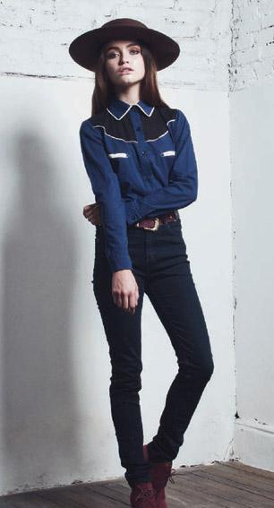 DROLE camisa texan azul-jean negro